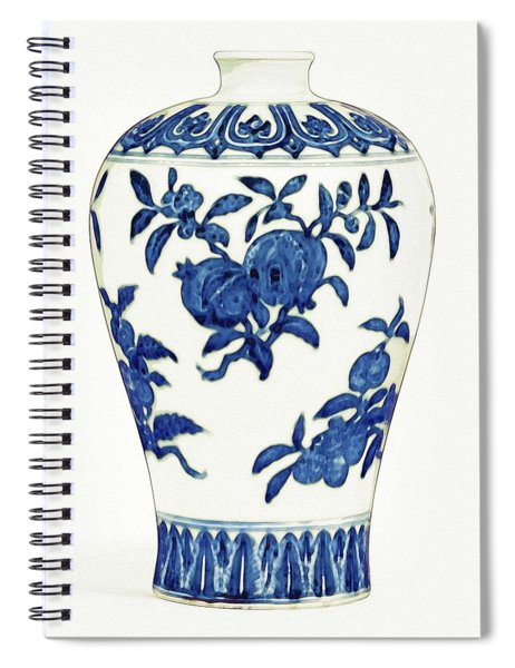 Blue And White 'fruit' Meiping Art Spiral Notebook