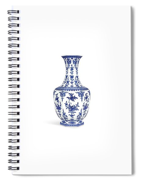 Blue And White Hexagonal Vase L Spiral Notebook