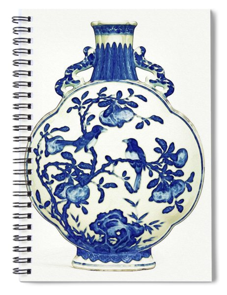 Blue And White Lobed 'magpie' Moonflask Art Spiral Notebook