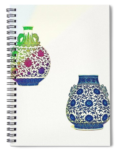 Blue And White 'lotus Scroll' Moonflask And Vase - Watercolor 2 Spiral Notebook