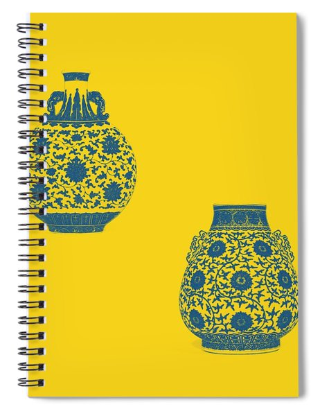 Blue And White 'lotus Scroll' Moonflask And Vase - Watercolor 3 Spiral Notebook