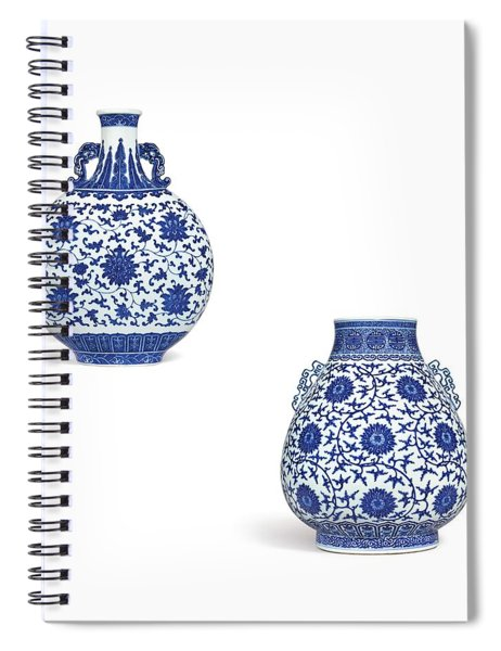 Blue And White 'lotus Scroll' Moonflask And Vase - Watercolor Spiral Notebook