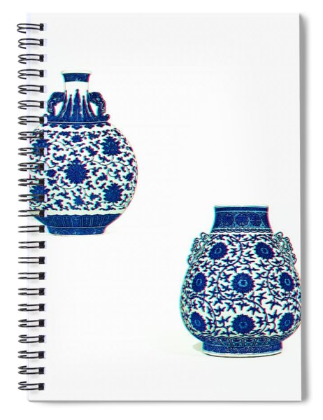 Blue And White 'lotus Scroll' Moonflask And Vase - Watercolor In 3d Spiral Notebook