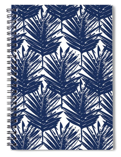 Blue And White  Palm Leaves 3 - Art By Linda Woods Spiral Notebook