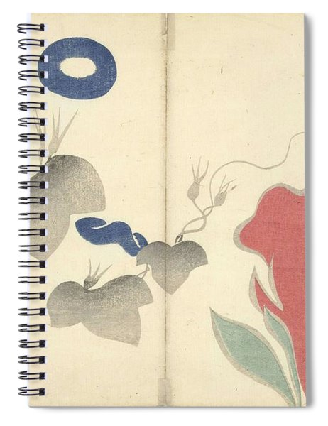 Blue Bindweed And Red Flowers, Nakamura Hochu, 1826 Spiral Notebook