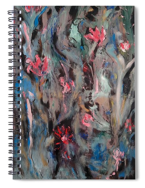 Blue Bird In Flower Garden Spiral Notebook