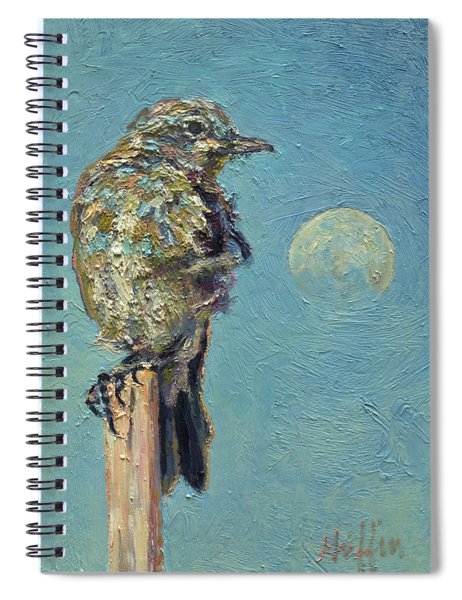 Blue Bird Moon Spiral Notebook