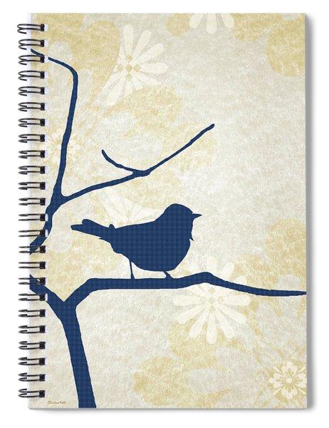 Blue Bird Silhouette Modern Bird Art Spiral Notebook