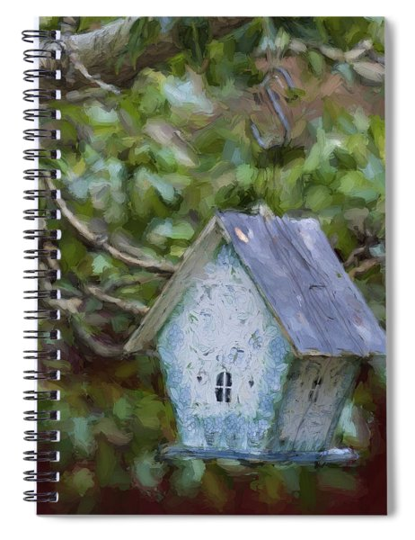 Blue Birdhouse Painterly Effect Spiral Notebook