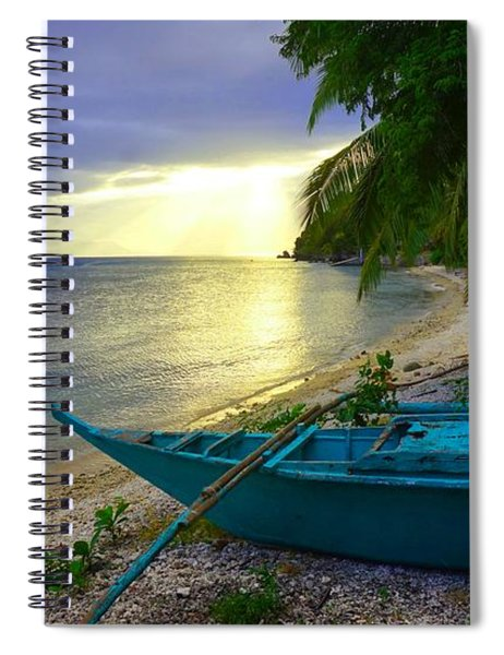 Blue Boat And Sunset On Beach Spiral Notebook