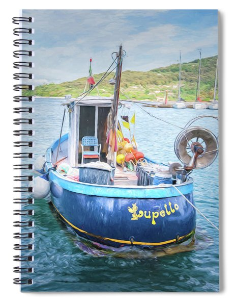 Blue Boat Spiral Notebook