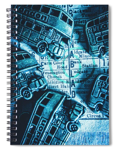 Blue Britain Bus Bill Spiral Notebook