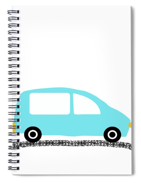 Blue Car On Road- Art By Linda Woods Spiral Notebook
