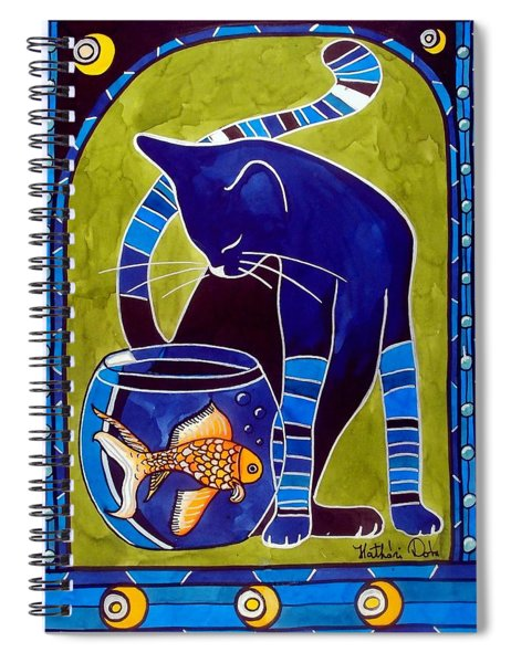 Blue Cat With Goldfish Spiral Notebook