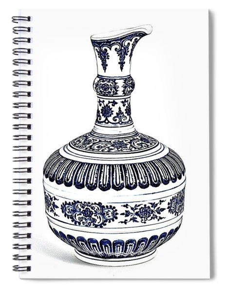 Blue Chinese Chinoiserie Pottery Vase 4a By Adam Asar Spiral Notebook