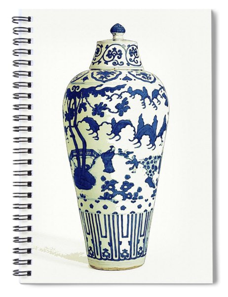 Blue Chinese Chinoiserie Pottery Vase 5 By Adam Asar Spiral Notebook