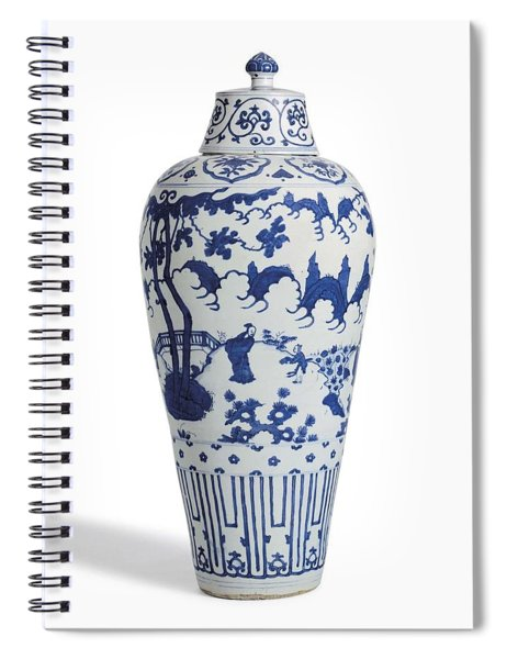 Blue Chinese Chinoiserie Pottery Vase 5 Spiral Notebook