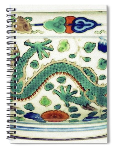 Blue Chinese Chinoiserie Pottery Watercolor Series,  No 1 By Adam Asar Spiral Notebook