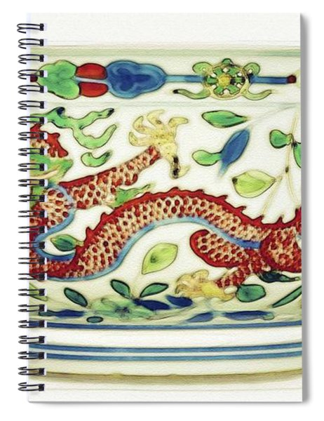 Blue Chinese Chinoiserie Pottery Watercolor Series,  No 2 By Adam Asar Spiral Notebook