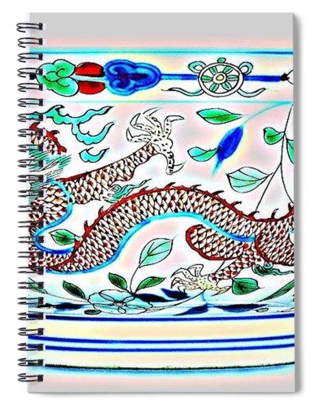 Blue Chinese Chinoiserie Pottery Watercolor Series,  No 2a By Adam Asar Spiral Notebook