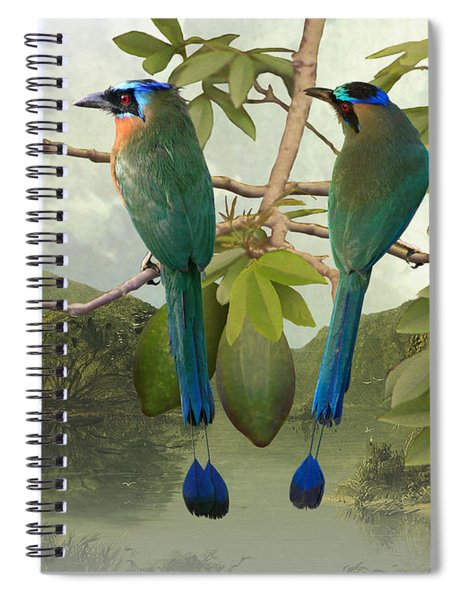 Blue-crowned Motmots In Kapok Tree Spiral Notebook