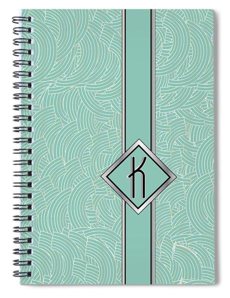 1920s Blue Deco Jazz Swing Monogram ...letter K Spiral Notebook