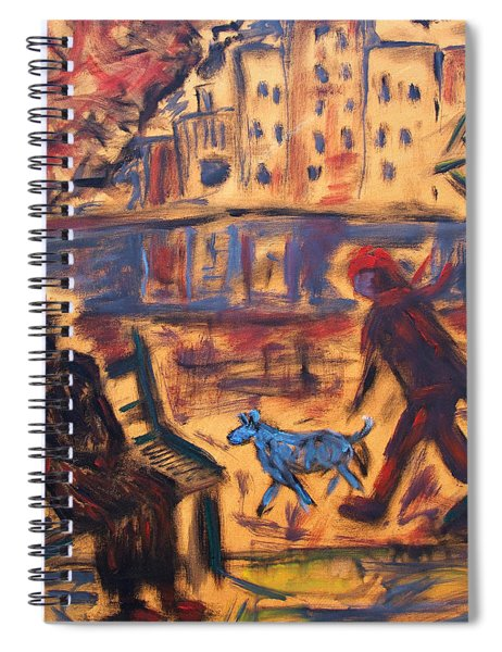 Blue Dog In The City Spiral Notebook
