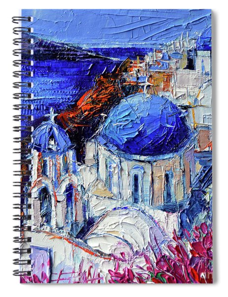 Blue Domed Churches In Oia Santorini - Mini Cityscape 08 - Palette Knife Oil Painting Spiral Notebook