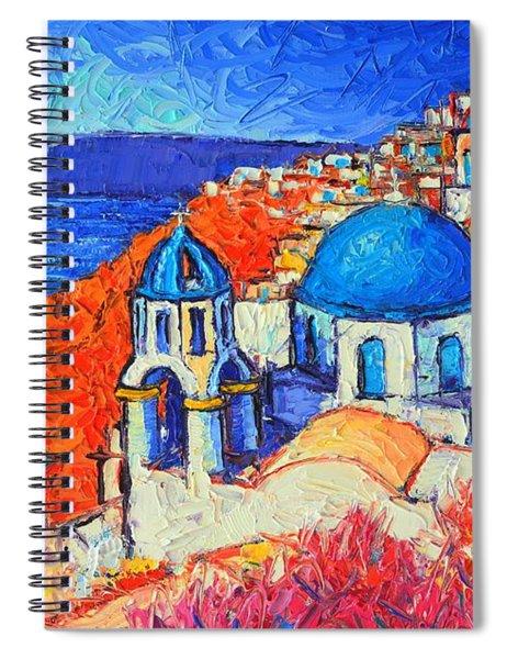 Blue Domes In Oia Santorini Greece Original Impasto Palette Knife Oil Painting By Ana Maria Edulescu Spiral Notebook
