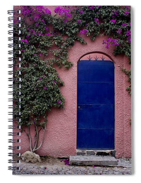 Blue Door And Bougainvilleas Spiral Notebook
