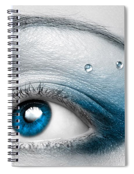 Blue Female Eye Macro With Artistic Make-up Spiral Notebook