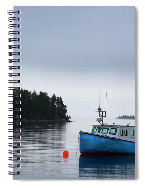 Blue Fishing Boat In Fog Spiral Notebook