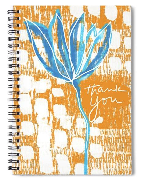 Blue Flower Thank You- Art By Linda Woods Spiral Notebook