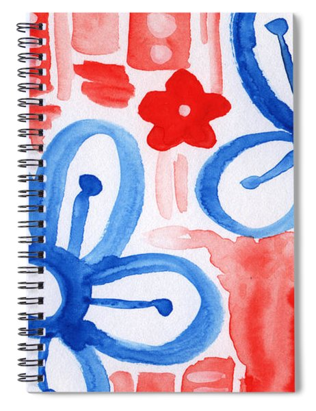 Blue Flowers- Floral Painting Spiral Notebook