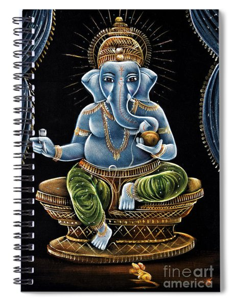 Spiral Notebook featuring the painting Shri Ganesha by Tim Gainey