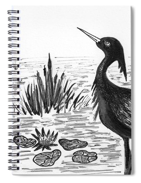 Crowned Night Heron Lily Pond Paradise In Ink D1 Spiral Notebook