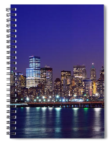 Blue Hour Panorama New York World Trade Center With Freedom Tower From Liberty State Park Spiral Notebook