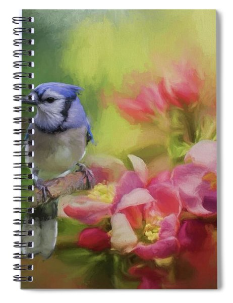 Blue Jay On A Blooming Tree Spiral Notebook