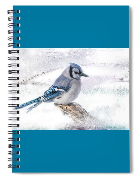 Spiral Notebook featuring the photograph Blue Jay Snow by Patti Deters