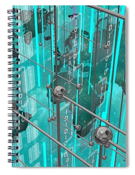 Blue Map Of The Connected World Spiral Notebook