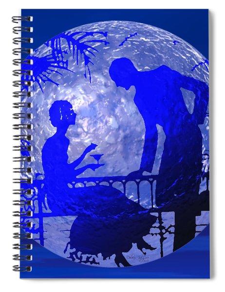 Blue Moonlight Lovers Spiral Notebook