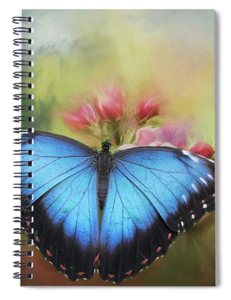 Blue Morpho On A Blossom Spiral Notebook