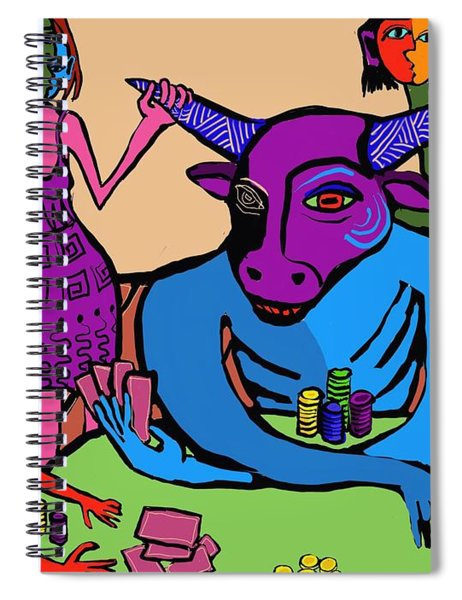 Blue Poker Bull Spiral Notebook