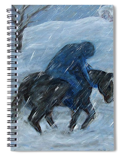 Blue Rider On Horse Spiral Notebook