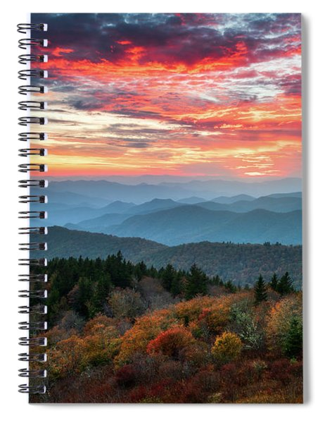 Blue Ridge Parkway Autumn Sunset Scenic Landscape Asheville Nc Spiral Notebook