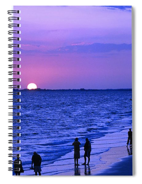 Blue Sunset On The Gulf Of Mexico At Fort Myers Beach In Florida Spiral Notebook