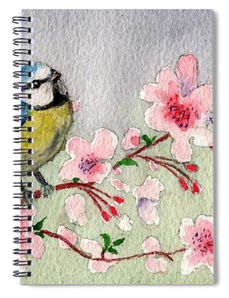 Blue Tit Bird On Cherry Blossom Tree Spiral Notebook