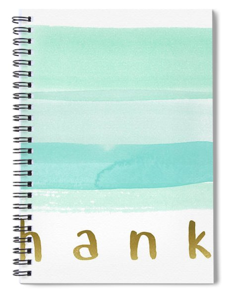 Blue Watercolor Stripe Thank You- Art By Linda Woods Spiral Notebook
