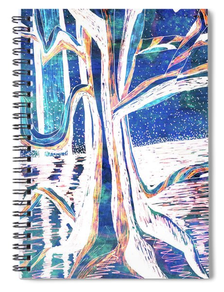 Blue-white Full Moon River Tree Spiral Notebook