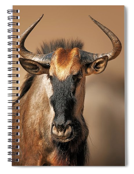 Blue Wildebeest Portrait Spiral Notebook